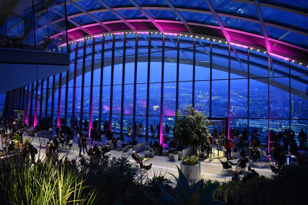 The Sky Garden viewing platform at night