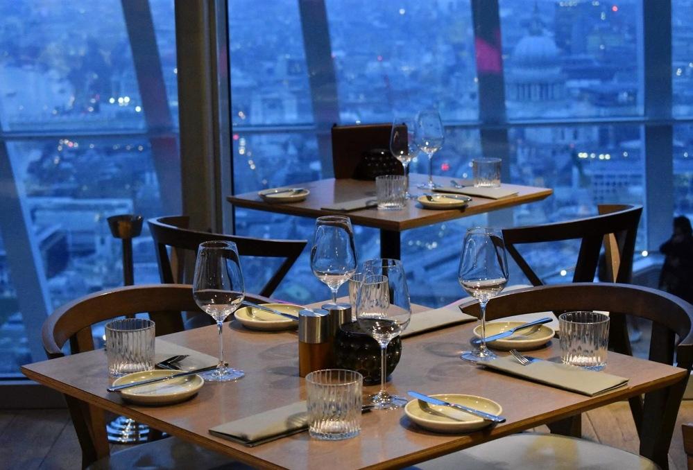 Tables in Darwin Brasserie in the Sky Garden